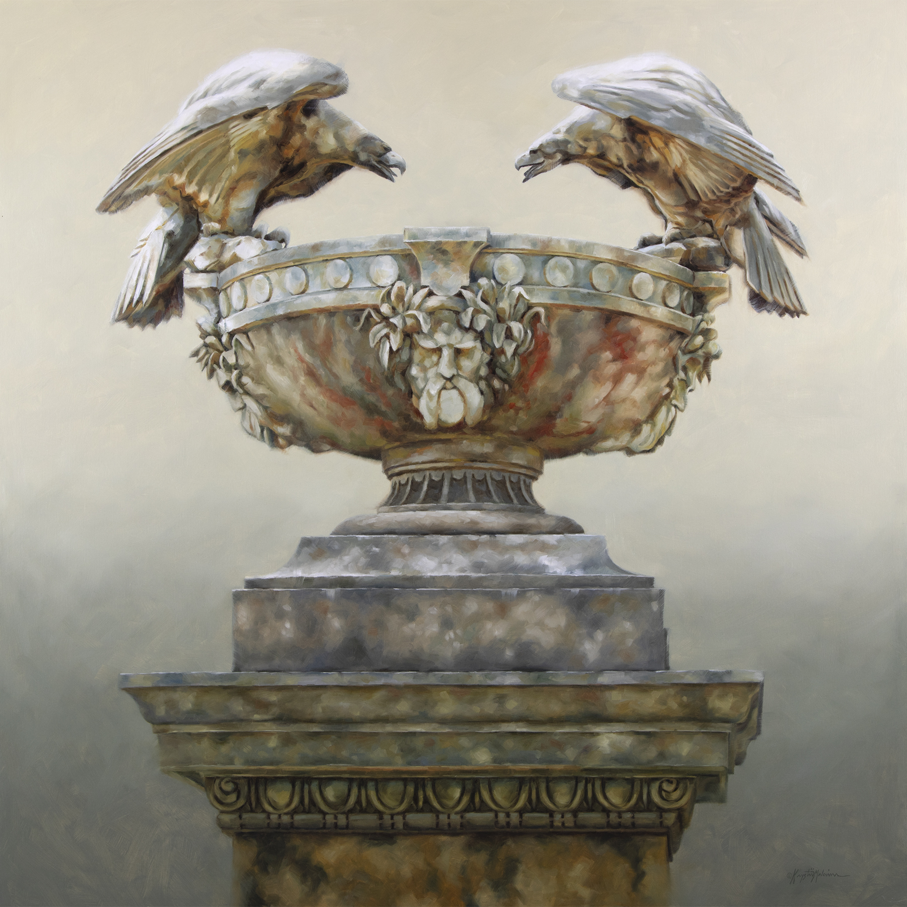 Painting of two stone eagles on a carved urn.