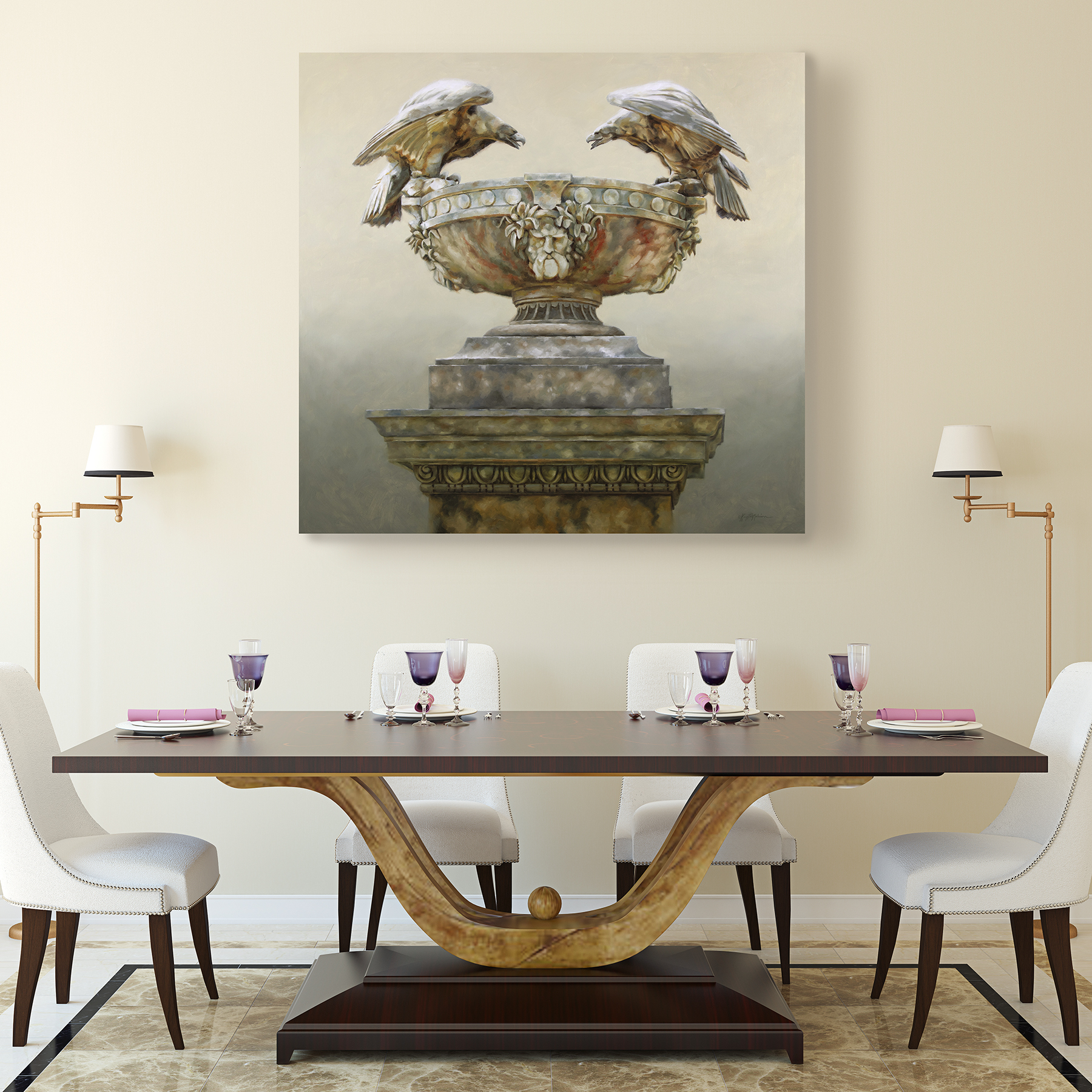 painting of carved stone eagles on an urn