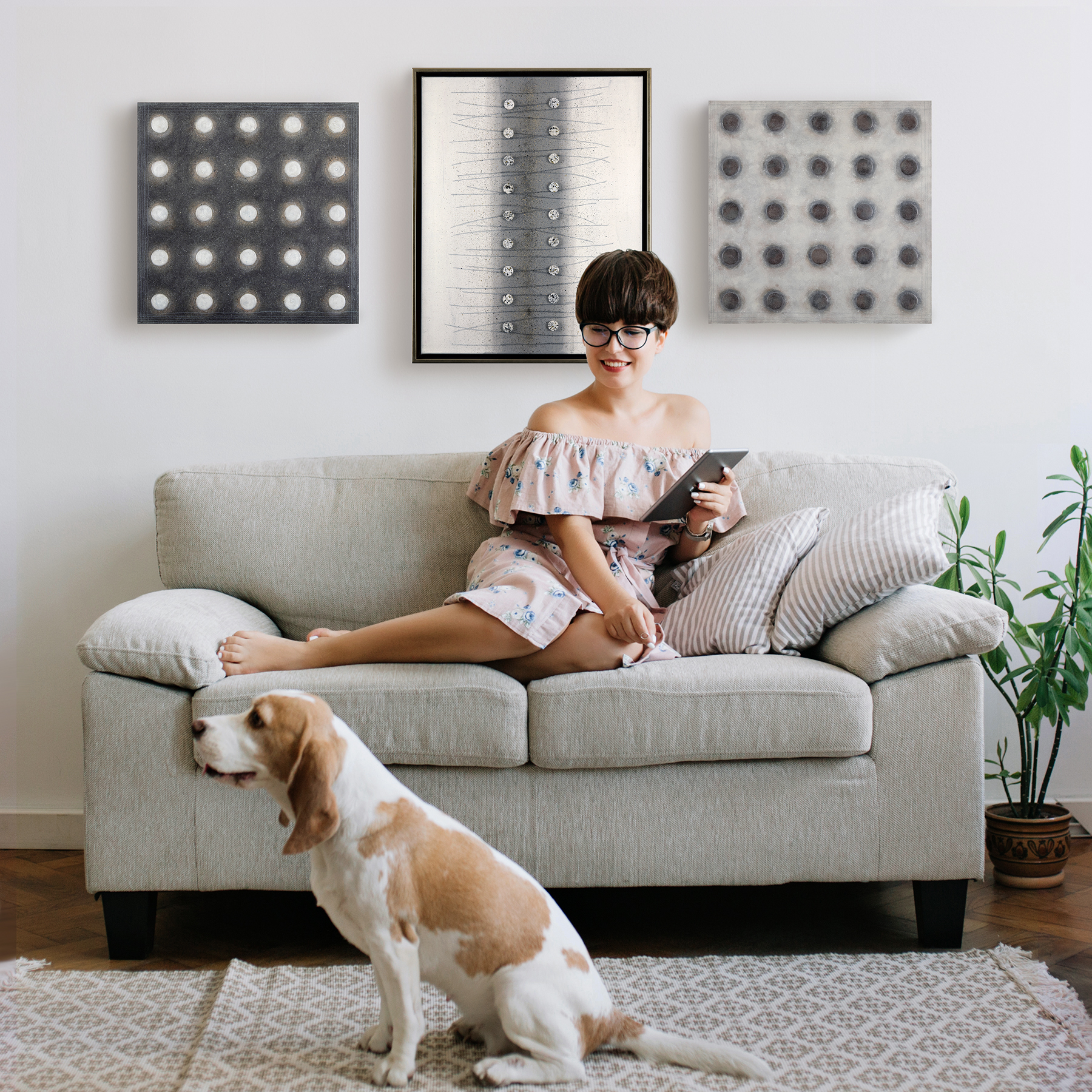 girl with dog and paintings